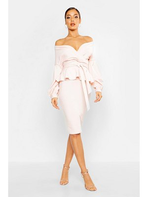 Boohoo Off The Shoulder Wrap Peplum Midi Dress