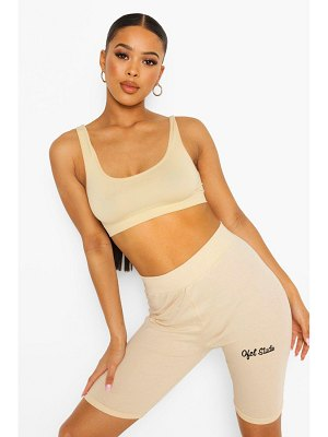 Boohoo Official Embroidered High Waist Cycling Short