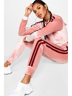 Boohoo Side Stripe Velour Jogger