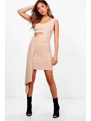 Boohoo One Shoulder Cut Out Drape Bodycon Dress