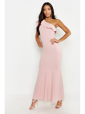 Boohoo One Shoulder Ruffle Maxi Dress