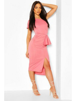 Boohoo One Shoulder Split Midi Dress
