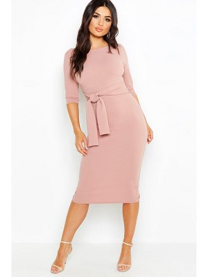 Boohoo Open Back Belted Midi Dress