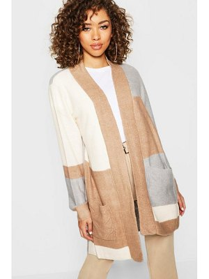 Boohoo Open Front Colour Block Cardigan