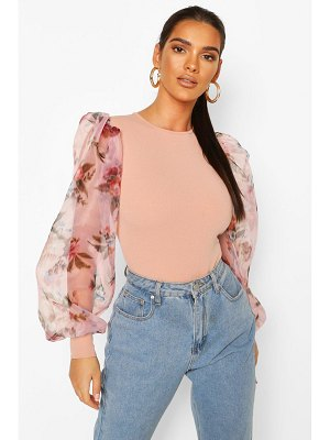 Boohoo Organza Floral Sleeve One Piece