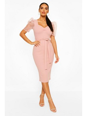 Boohoo Organza Mesh Puff Sleeve Midi Dress