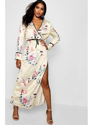 Boohoo Oriential Wrap Front Floral Maxi Dress