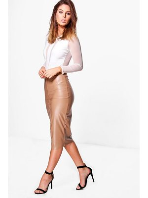 Boohoo Orla Seamed Leather Look High Waist Midi Skirt