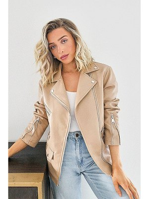 Boohoo Oversized Crop Biker Jacket