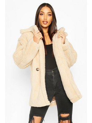 Boohoo Oversized Double Breasted Teddy Faux Fur Coat