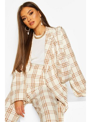 Boohoo Oversized flannel Blazer With Removable Belt Bag