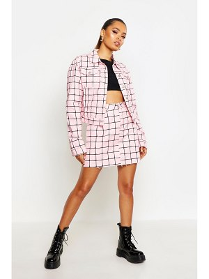Boohoo Oversized Grid Denim Jacket