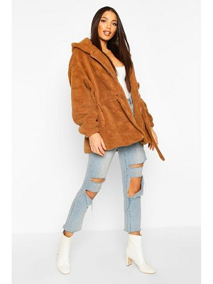 Boohoo Oversized Hooded Belted Faux Fur Teddy Coat