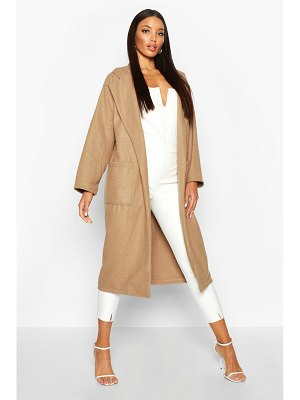 Boohoo Oversized Patch Packet Wool Look Coat