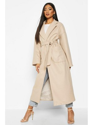 Boohoo Oversized Pocket Belted Maxi Wool Look Coat