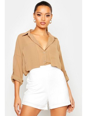 Boohoo Oversized Pocket Detail Chiffon Shirt