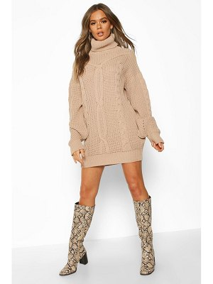 Boohoo Oversized Roll Neck Cable Dress