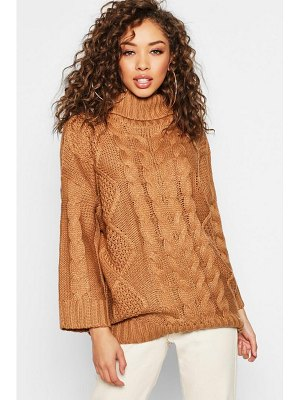 Boohoo Oversized Roll Neck Cable Sweater