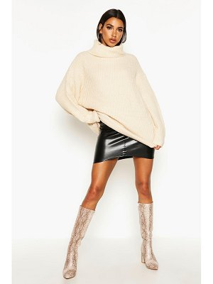 Boohoo Oversized Roll Neck Rib Knit Sweater