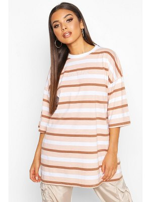 Boohoo Oversized Striped Embroidered T-Shirt
