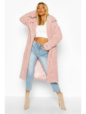 Boohoo Oversized Textured Faux Fur Coat