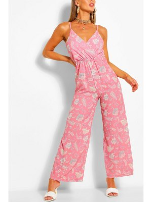 Boohoo Paisley Print Wrap Strappy Jumpsuit