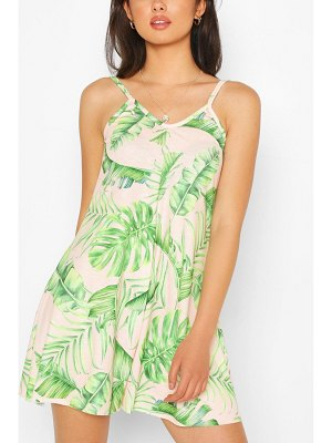 Boohoo Palm Print Strappy Swing Romper