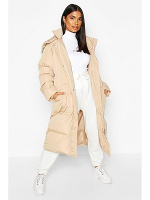 Boohoo Panelled Faux Fur Hood Padded Coat