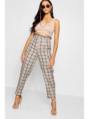 Boohoo Paperbag Waist Pocket Woven Check Trousers