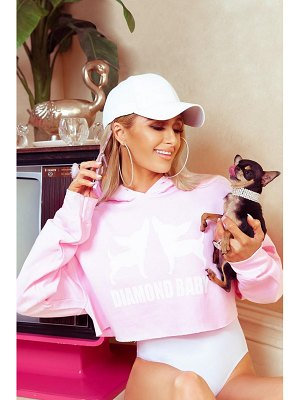 Boohoo Paris Hilton Diamond Baby Slogan Crop Hoody