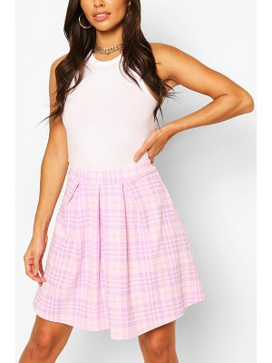 Boohoo Pastel Flannel Pleated Skater Skirt
