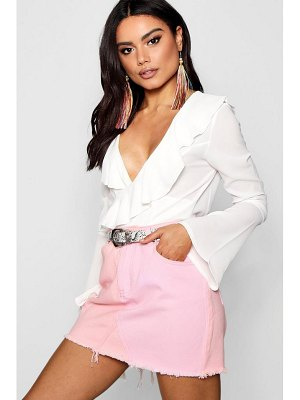 Boohoo Patchwork Pink Denim Mini Skirt
