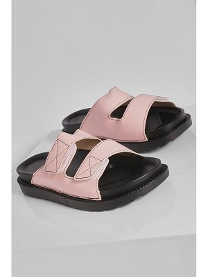 Boohoo Patent Contrast Stitch Double Strap Sliders