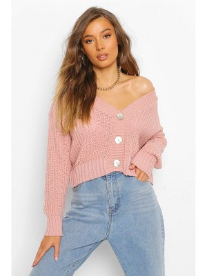 Boohoo Pearl Button Soft Knit Cardigan