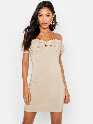 Boohoo Peasant Ruffle Detail Bodycon Dress