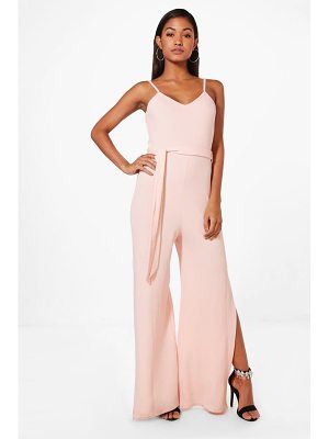 BOOHOO Penny Strap Belted Wide Leg Jumpsuit