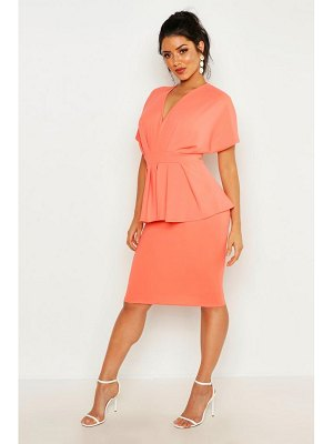 Boohoo Peplum Detail Midi Dress