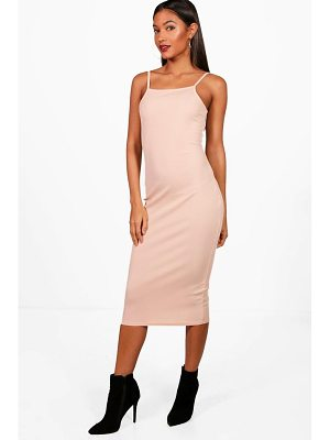 BOOHOO Philippa Square Neck Ribbed Midi Bodycon Dress