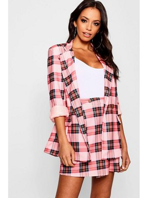 Boohoo Pink Check Double Breasted Blazer