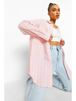 Boohoo Pink & Lilac Flannel Oversized Shirt