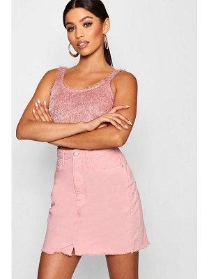 Boohoo Pink Raw Hem Denim Skirt