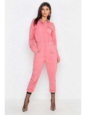 Boohoo Pink Utility Denim Boilersuit
