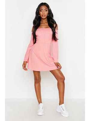 Boohoo Plaited Rib Bardot Flared Sleeve Skater Dress