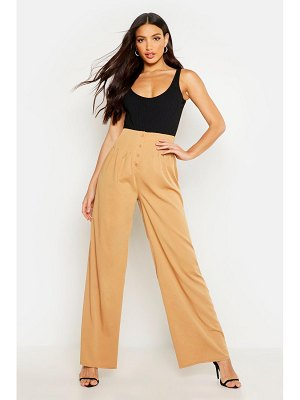 Boohoo Pleat Detail Button Front Wide Leg Trouser
