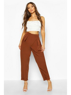 Boohoo Pleat Detail Wrap Turn Up Tapered Trouser