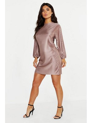 Boohoo Pleated Balloon Sleeve Satin Jersey Shift Dress