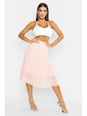 Boohoo Pleated Chiffon Midi Skirt