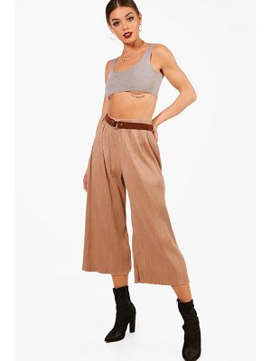 Boohoo Pleated Suedette Belted Culottes