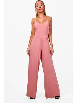 Boohoo Pleated Wide Leg Jumpsuit