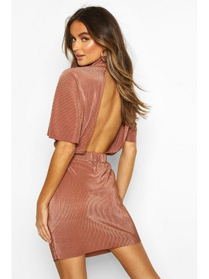 Boohoo Plisse High Neck Mini Dress